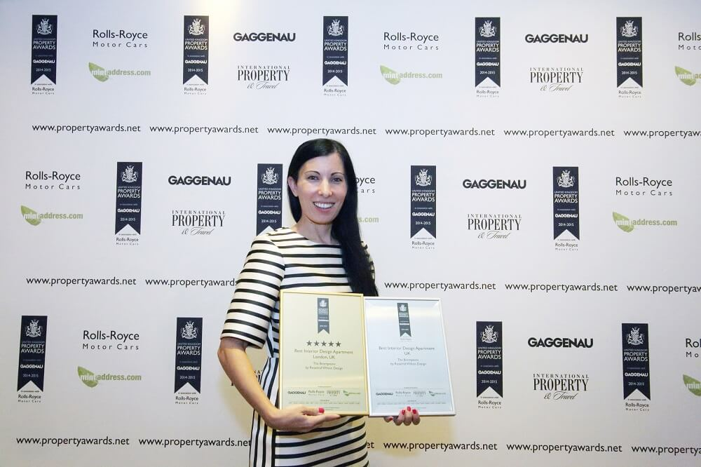 Roselind Wilson with awards from The International Property Awards 2014-2015