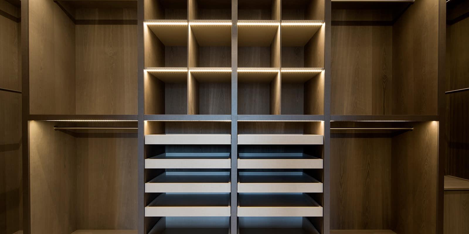 Light wooden shelving