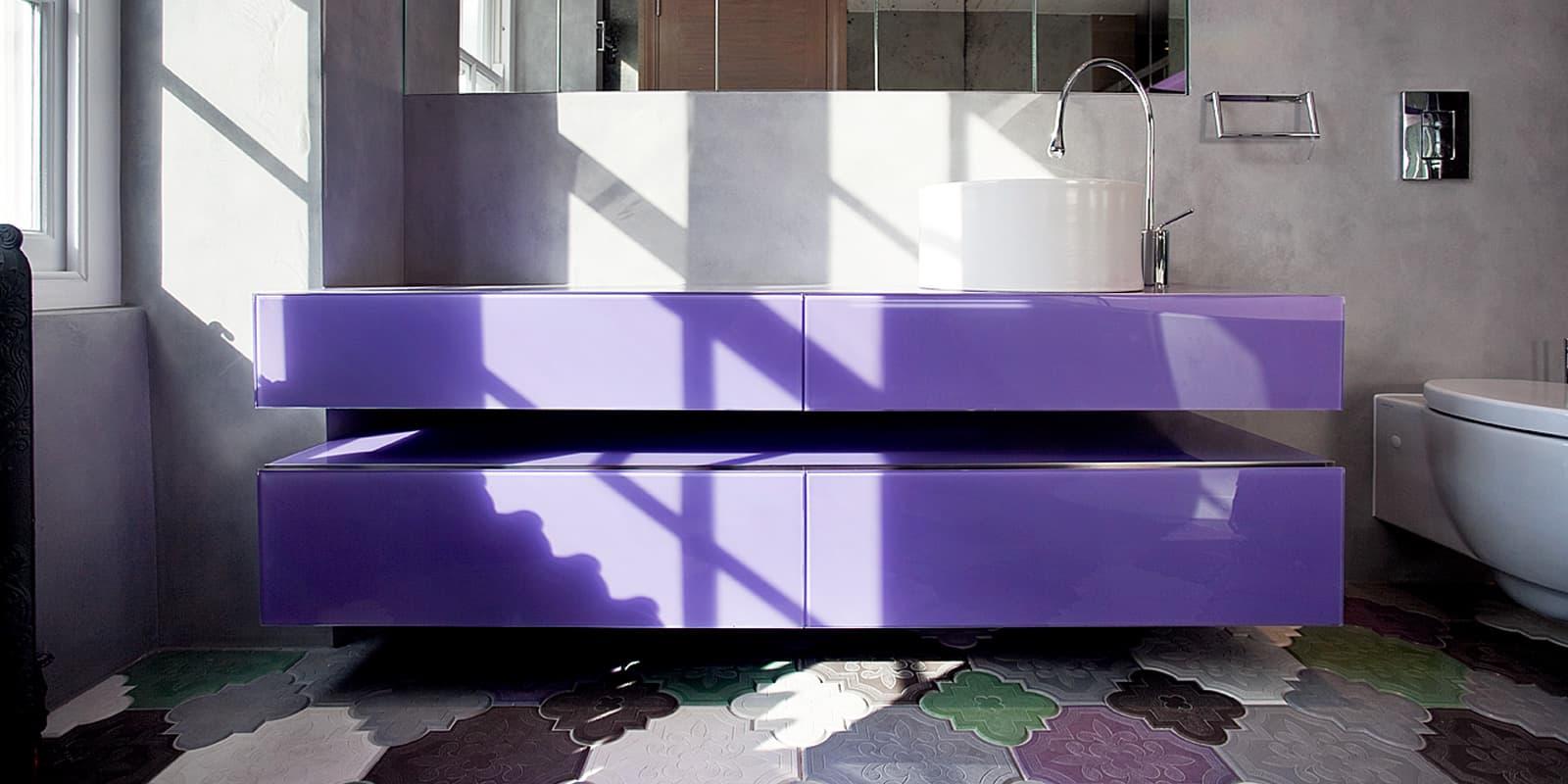 Purple pop up bathroom and sink