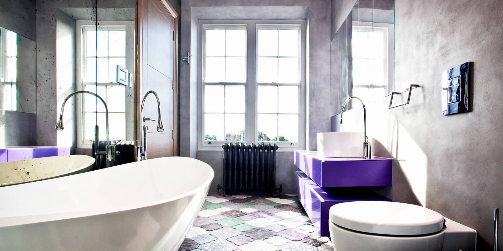 contemporary bathroom with concrete-effect paint