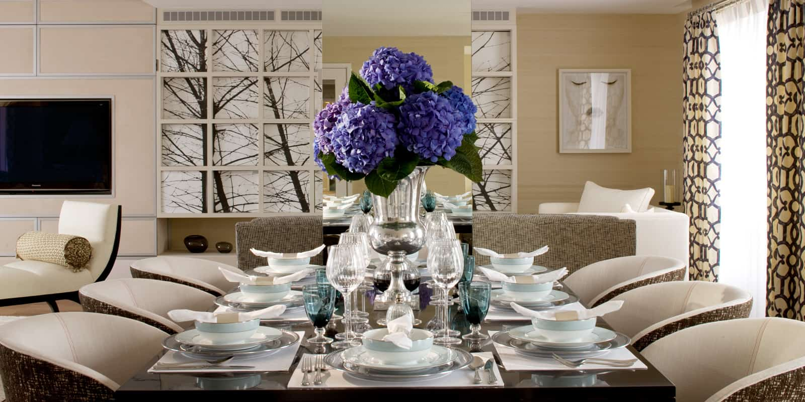 Contemporary dining room with Eastern influence