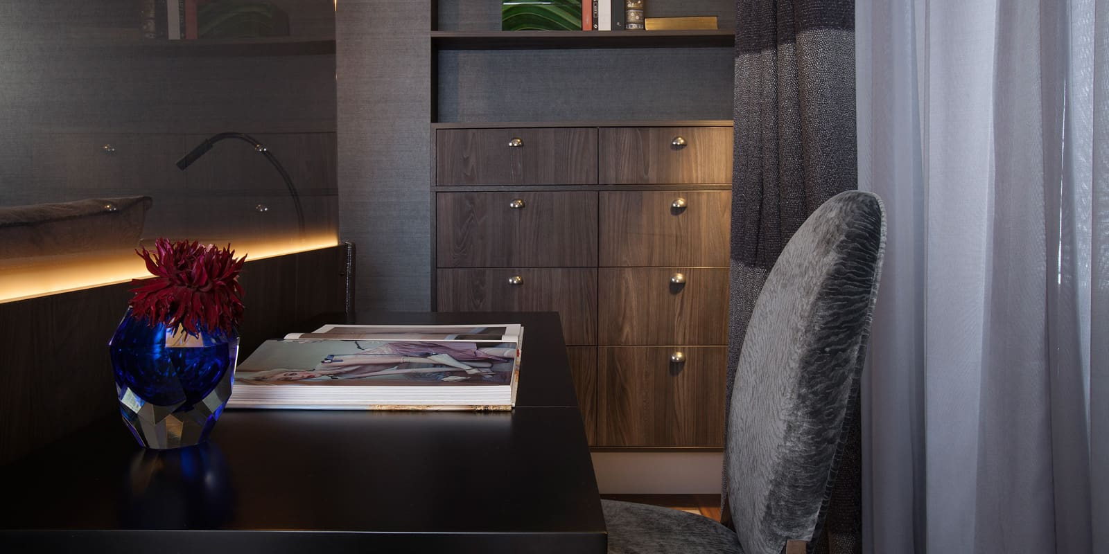 partitioned desk area in bedroom