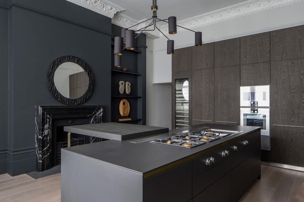 monochrome kitchen in luxury hampstead apartment