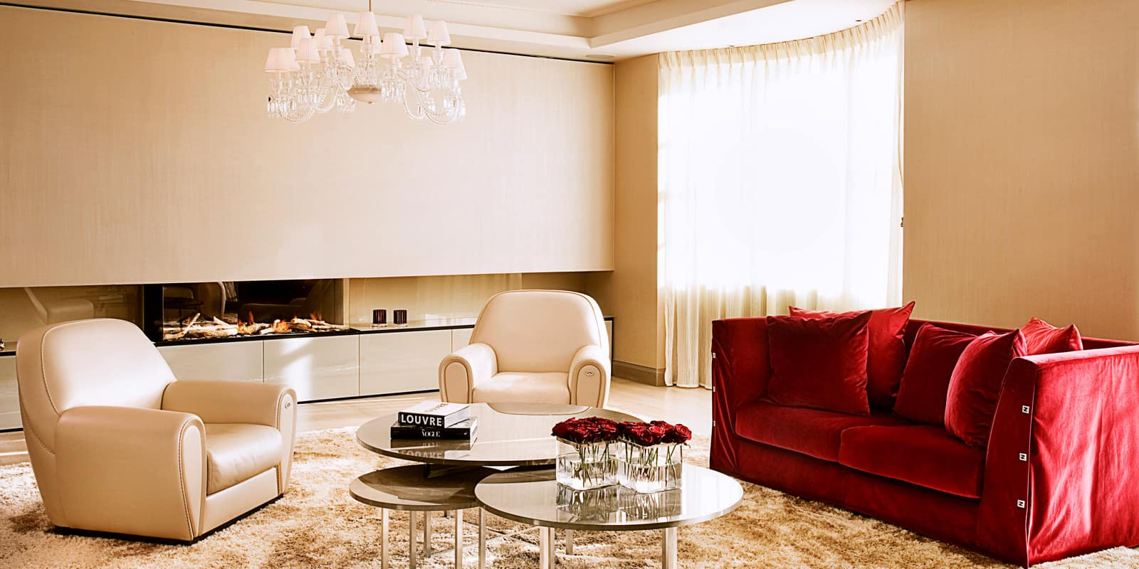 Luxurious living room with royal red sofa
