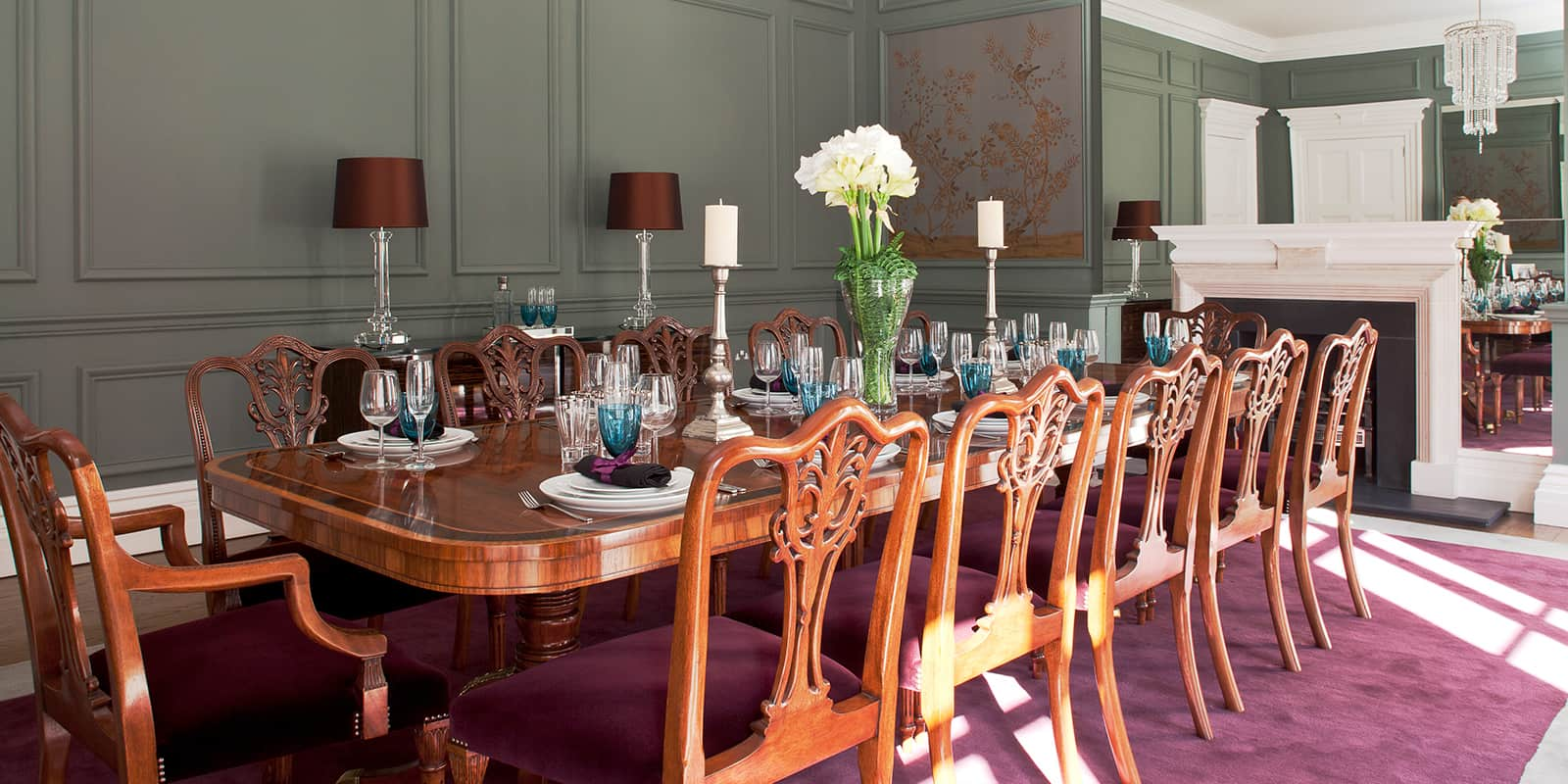 Grand oak dining table and chairs