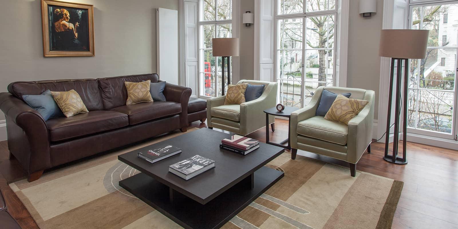 Contemporary living room and sofa