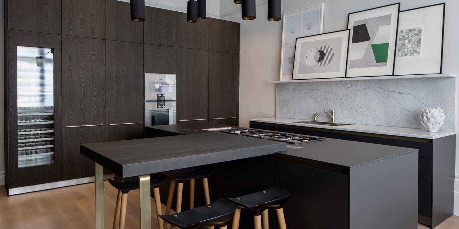 modern industrial kitchen with dark timber kitchen island