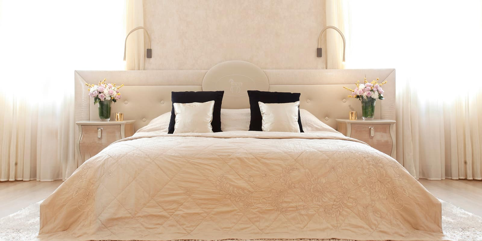 Large cream bedroom and bed