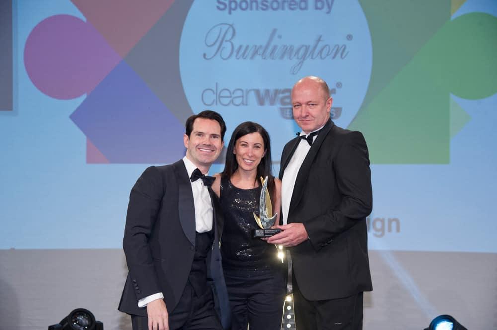 award-winning designer roselind wilson with comedian jimmy carr and director of bathroom brands david hance