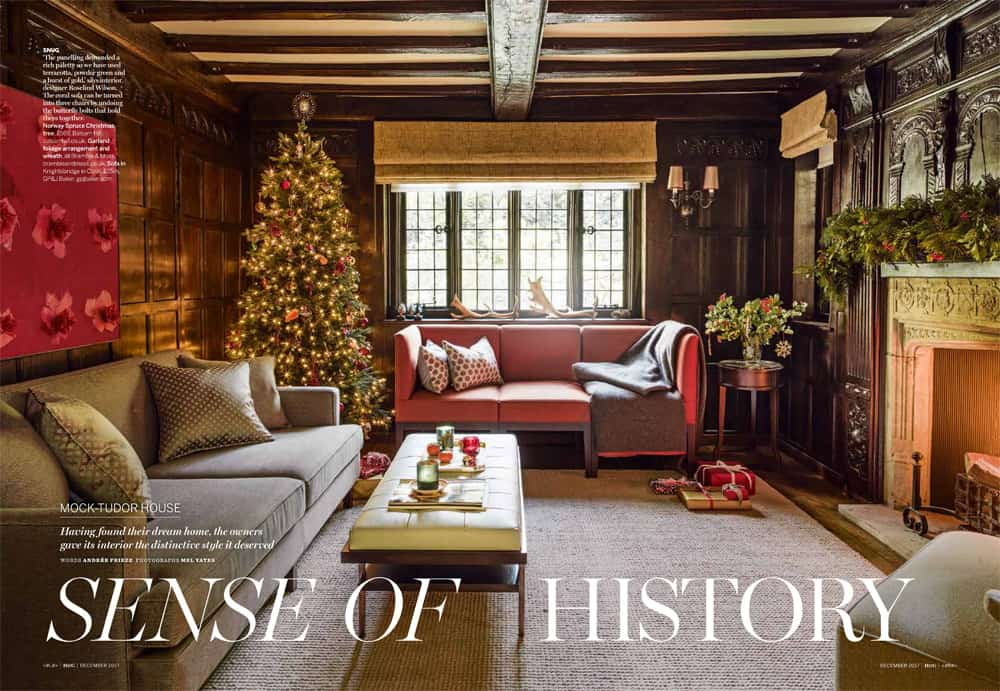homes and gardens december 2017 issue mock tudor house feature with cosy snug and wood panels