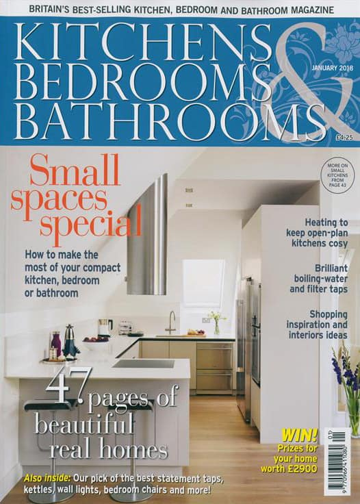 cover of kitchens bedrooms and bathrooms magazine january 2018 issue