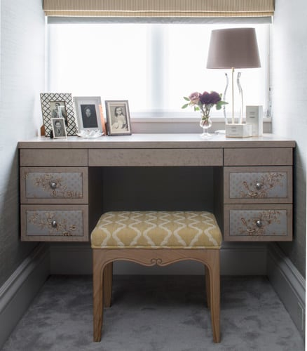 dressing table drawer panels clad in floral design fabric by roselind wilson design