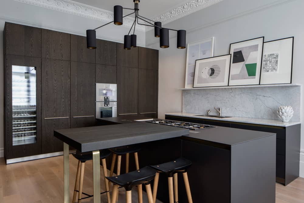 task lighting in the kitchen of this belsize park project by roselind wilson design