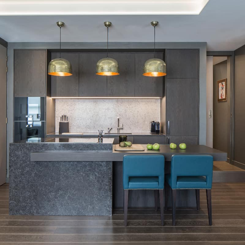 open plan kitchen luxury interior design fitzrovia apartment roselind wilson design