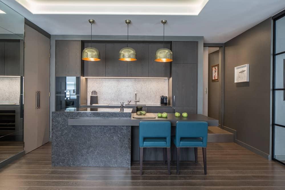 open plan kitchen luxury apartment redesign fitzrovia roselind wilson design