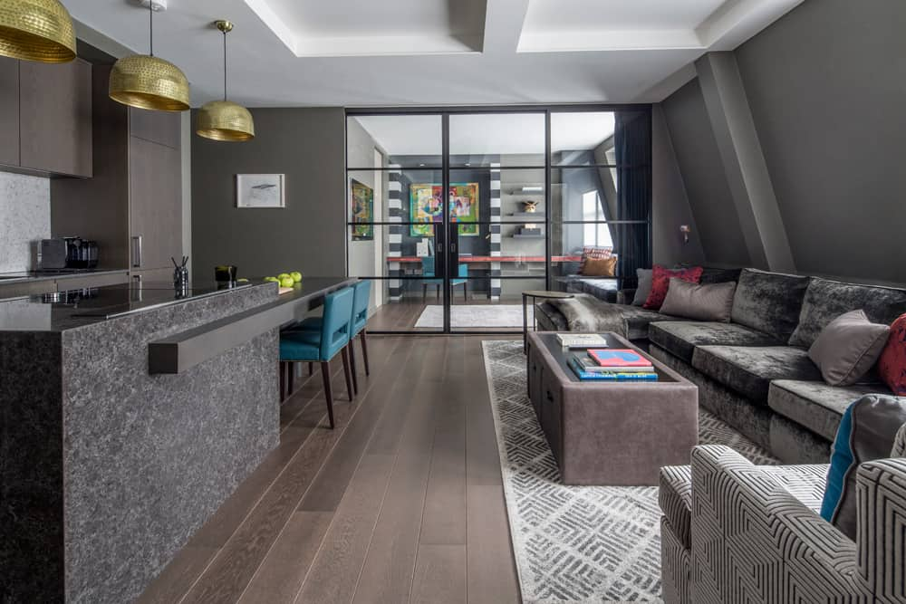 open plan living area luxury apartment redesign fitzrovia roselind wilson design