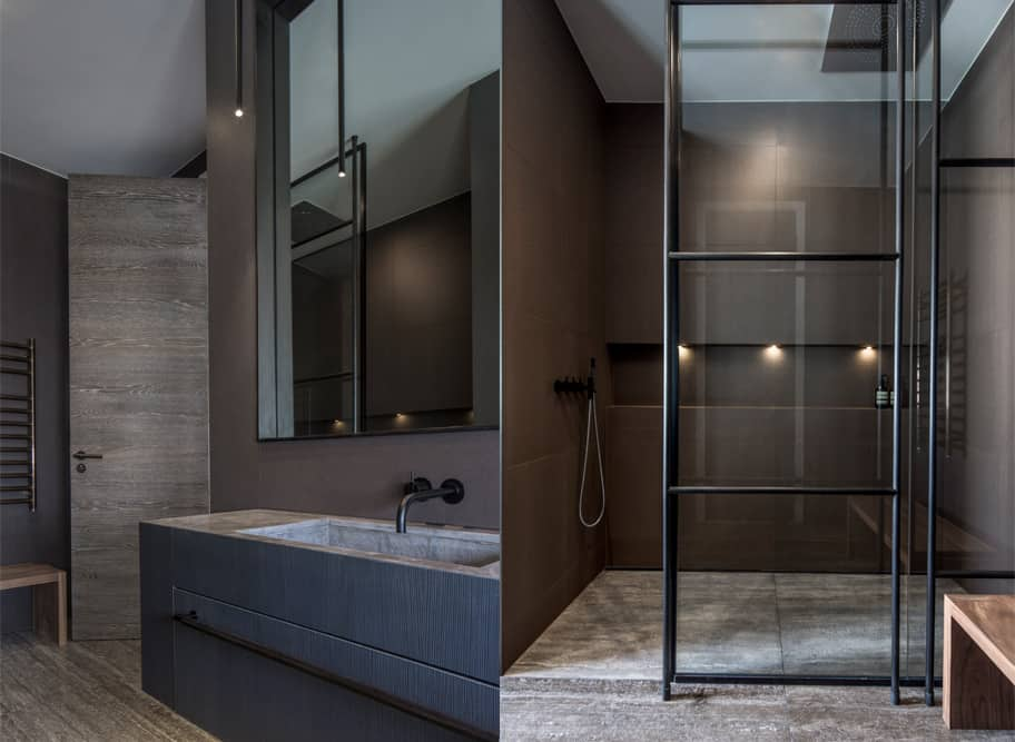 contemporary industrial bathroom design by roselind wilson design featured natural stone and textured finishes