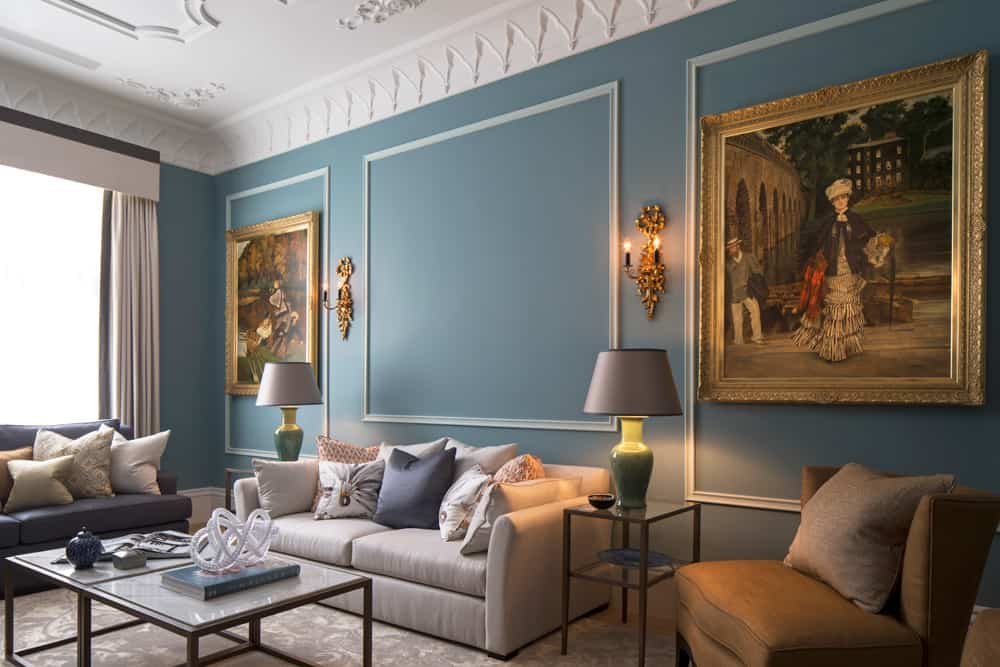 luxurious blue living room by roselind wilson design