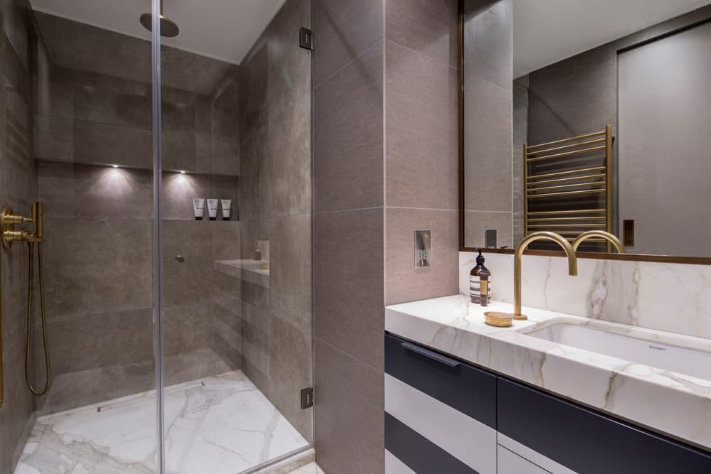 striped bathroom vanity roselind wilson design