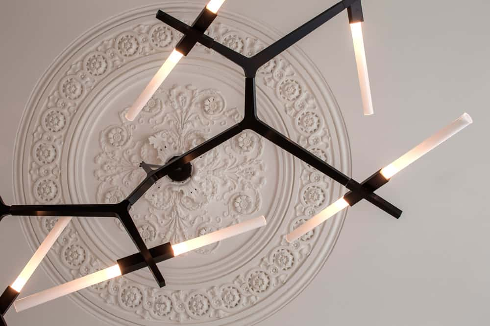 ceiling rose with agnes chandelier roselind wilson design