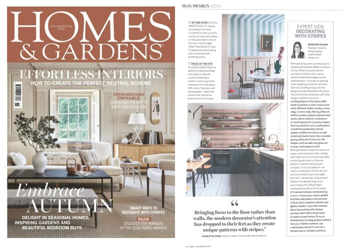homes and gardens decorating with stripes roselind wilson design