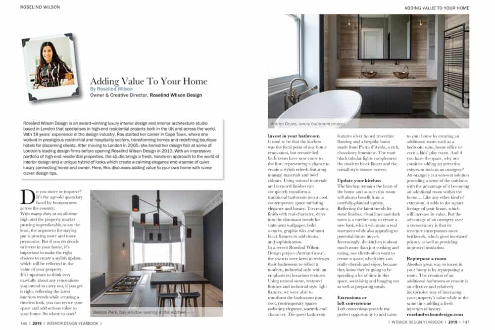 interior design feature on adding value to your home by roselind wilson design