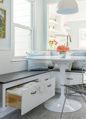 Modern white table and bench
