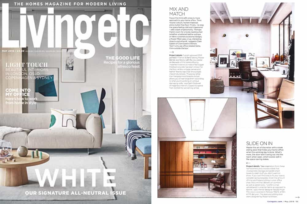Livingetc magazine May 2019 issue cover and home office feature including a desk that can be hidden from view by a timber sliding door