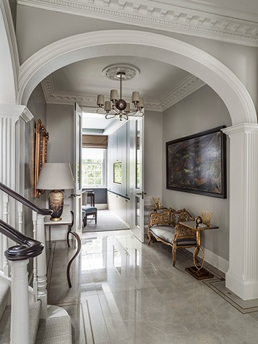 luxuriious entrance hall in carlton hill residential project by roselind wilson design