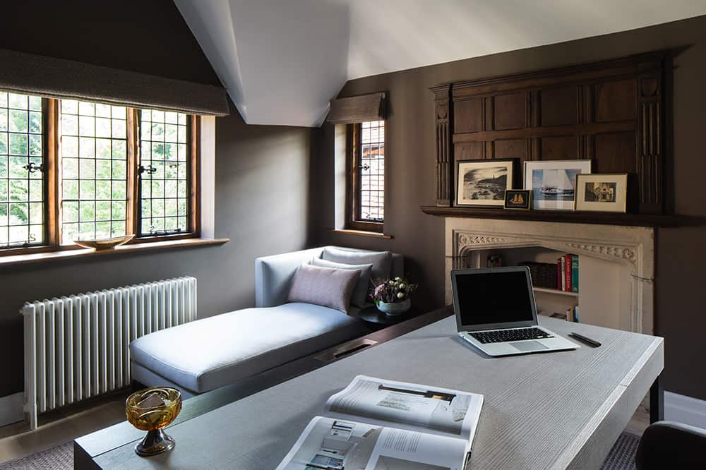 home office design with sofa bed and fireplace roselind wilson design
