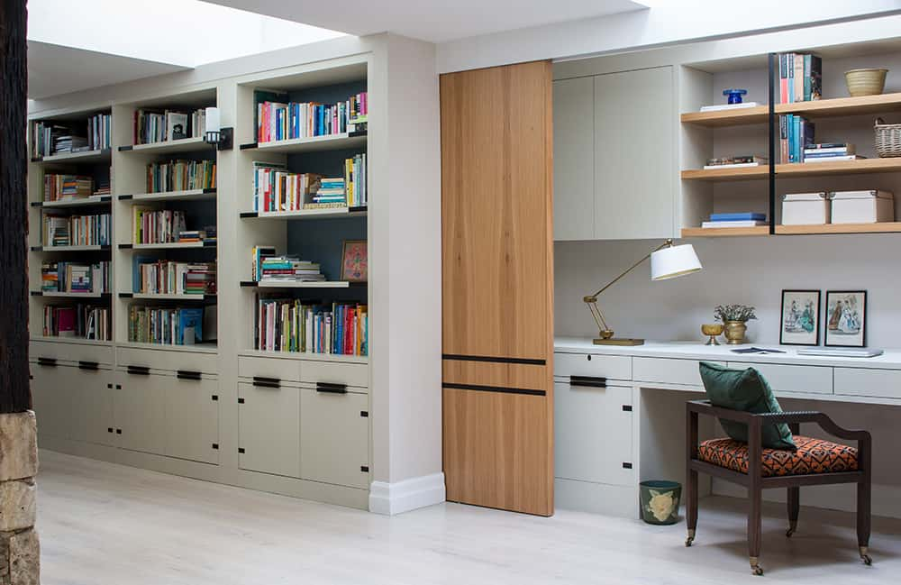 home workspace with timber pocket door roselind wilson design