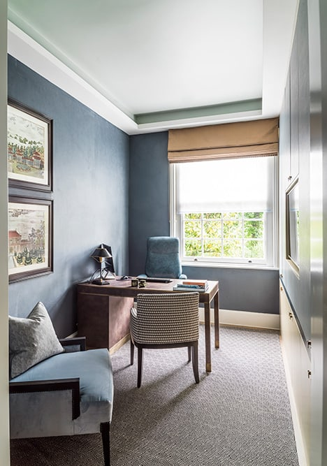 blue home office with desk and full height joinery