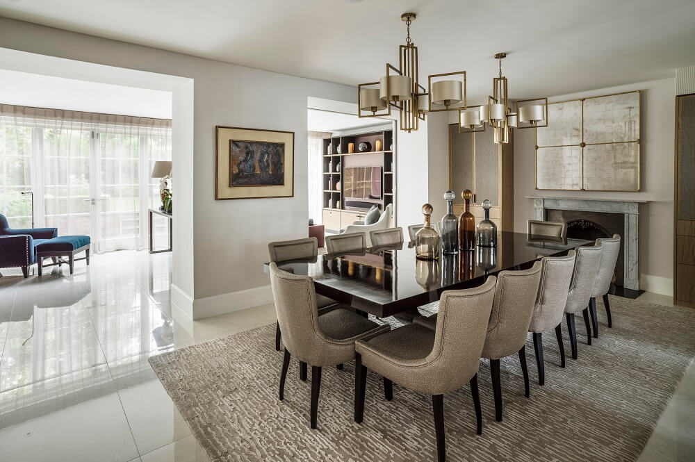 Luxury interior design open plan dining room by roselind wilson design