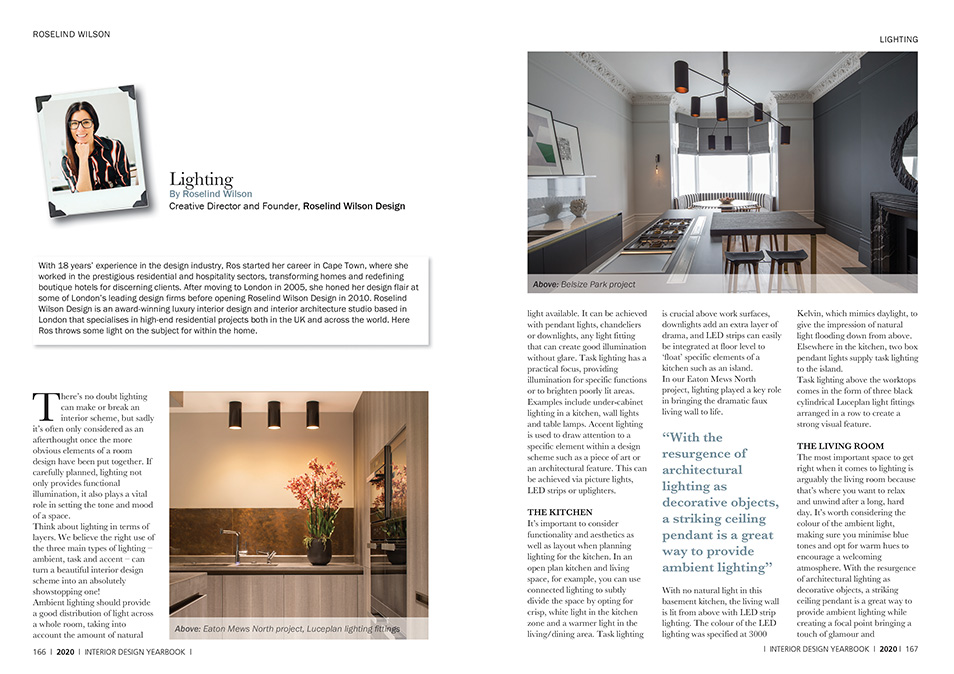 lighting editorial feature by roselind wilson design