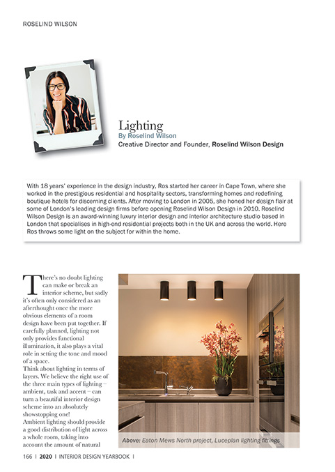 expert advice on lighting within the home by roselind wilson