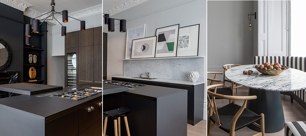 dark and light contrasting kitchen