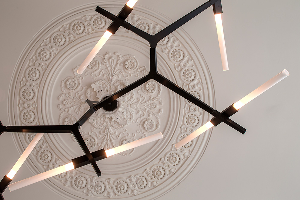 ceiling rose with contemporary pendant light