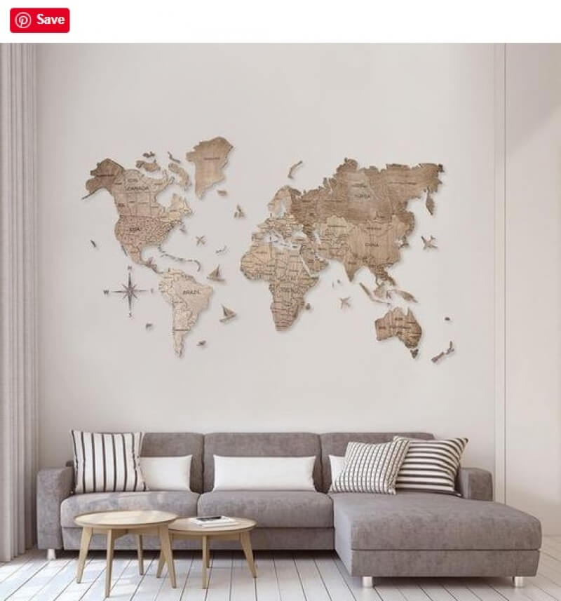 map on wall with sofa