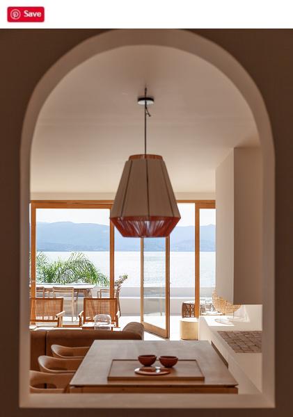 modern kitchen with views of lake