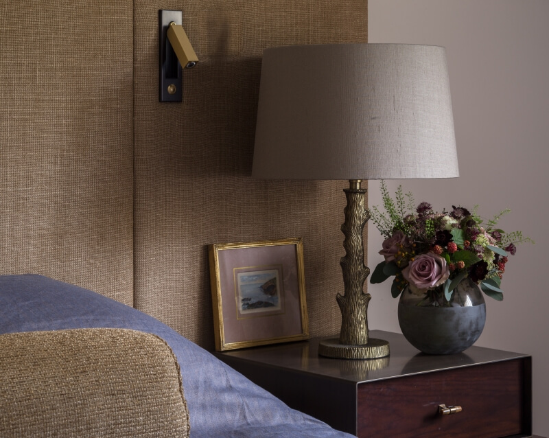 Brass antique finish Klute Lamp Base from India Jane, with tapered drum lampshade from the Elefant Collection from J Robert Scott