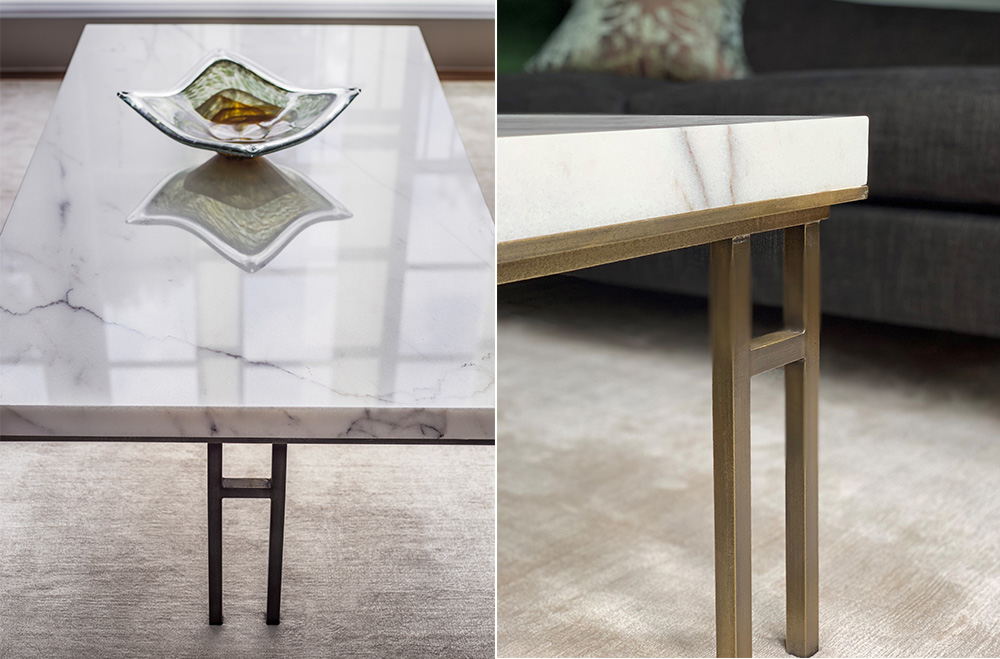 bespoke marble coffee table with bronze legs