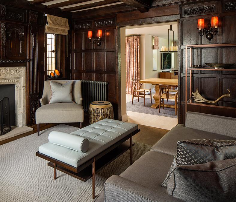 wood panelled snug with bespoke ottoman bench
