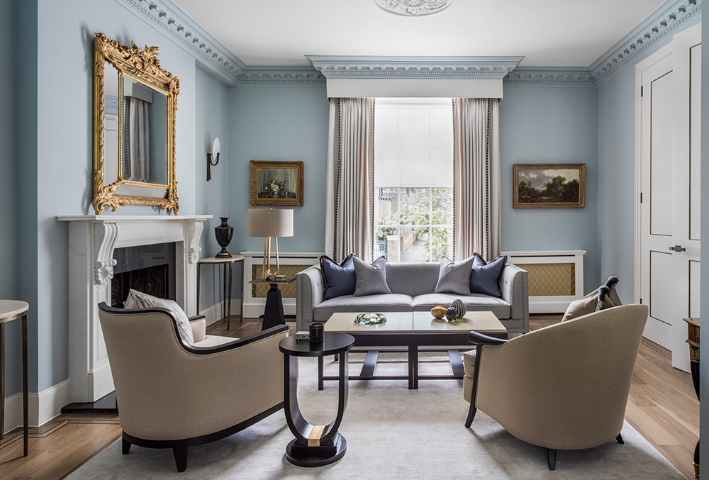 classic contemporary blue living room with bespoke furniture