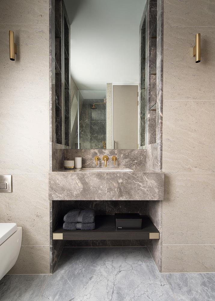Bespoke marble bathroom vanity
